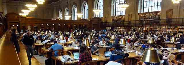 This image of the NYC Library Reading Room by Craig Dietrich was used by permission under a CC Attribution License. The image has been cropped from the original.